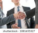 closeup of a business handshake ... | Shutterstock . vector #1081655327