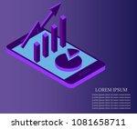 3d vector isometric growth... | Shutterstock .eps vector #1081658711