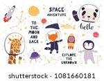 Stock vector big set of cute funny animal astronauts in space with planets stars quotes isolated objects on 1081660181