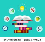 education. open book with icon... | Shutterstock .eps vector #1081679525