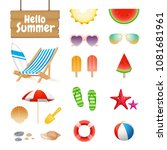 realistic summer design objects ...   Shutterstock .eps vector #1081681961