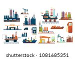 oil industry set  extraction ... | Shutterstock .eps vector #1081685351