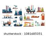 oil industry set  extraction ... | Shutterstock .eps vector #1081685351
