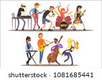 music band performing on stage  ... | Shutterstock .eps vector #1081685441