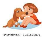 girl hugs a dog with a broken... | Shutterstock .eps vector #1081692071