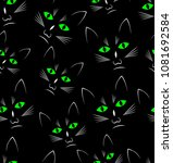 Stock vector black background with black cats heads seamless vector background 1081692584