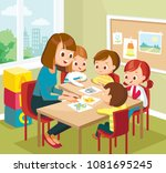 art classroom interior with... | Shutterstock .eps vector #1081695245