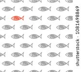 seamless pattern with fish.... | Shutterstock .eps vector #1081698869