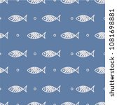 seamless pattern with fish.... | Shutterstock .eps vector #1081698881