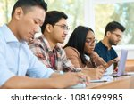 concentrated students studying... | Shutterstock . vector #1081699985