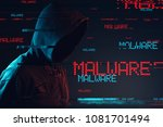 malware concept with faceless... | Shutterstock . vector #1081701494