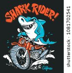 shark rider on motorcycle... | Shutterstock .eps vector #1081702541