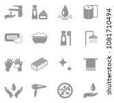 hygiene icons. gray flat design.... | Shutterstock .eps vector #1081710494