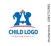 child boys girls logo | Shutterstock .eps vector #1081712981