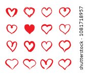 set of red hand drawn hearts.... | Shutterstock .eps vector #1081718957