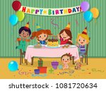 cartoon kids party with sweets... | Shutterstock .eps vector #1081720634