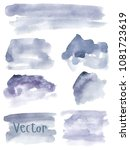 set of watercolor stains. spots ... | Shutterstock .eps vector #1081723619