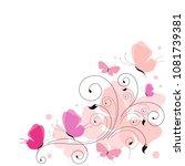beautiful butterflies on a white | Shutterstock .eps vector #1081739381