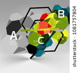 3d hexagon geometric... | Shutterstock .eps vector #1081757804
