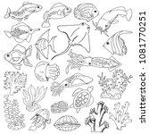 Set Sketches Of Sea Animals ...