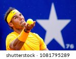 Small photo of BARCELONA - APR 29: Rafa Nadal plays at the ATP Barcelona Open Banc Sabadell Conde de Godo tournament on April 29, 2018 in Barcelona, Spain.