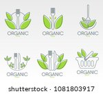 healthy food logos template.... | Shutterstock .eps vector #1081803917