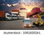 forklift handling container box ...   Shutterstock . vector #1081820261