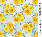 eshsholtsiya orange flowers... | Shutterstock . vector #1081820894