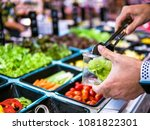 fresh salad bar counter with...   Shutterstock . vector #1081822301