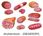 sausage sketch set of beef and... | Shutterstock .eps vector #1081840391