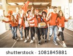 football supporter fans friends ... | Shutterstock . vector #1081845881