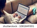 woman working on a laptop | Shutterstock . vector #1081849301