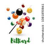 billiard ball and cue poster.... | Shutterstock .eps vector #1081850861
