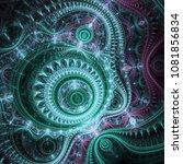 dark green fractal machine ... | Shutterstock . vector #1081856834