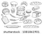 bread isolated sketch set of... | Shutterstock .eps vector #1081861901