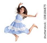 jumping happy little girl ... | Shutterstock . vector #108186875