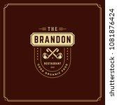 restaurant logo template vector ... | Shutterstock .eps vector #1081876424