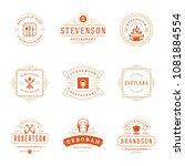 restaurant logos design... | Shutterstock .eps vector #1081884554