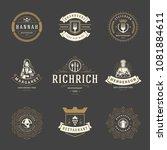 restaurant logos design...   Shutterstock .eps vector #1081884611