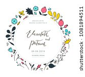 floral wedding card. vector... | Shutterstock .eps vector #1081894511