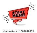 red flat line banner start here | Shutterstock .eps vector #1081898951