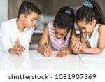 child write note on the kitchen ... | Shutterstock . vector #1081907369