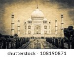 taj mahal vintage retro | Shutterstock . vector #108190871