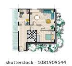 rendered watercolor floor plan. ... | Shutterstock .eps vector #1081909544
