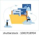 cloud storage banner concept.... | Shutterstock .eps vector #1081918904