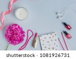 flat lay desk with pink peony ... | Shutterstock . vector #1081926731