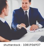 businessmen shaking hands ... | Shutterstock . vector #1081936937