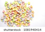 Stock photo colorful mini marshmallows from breakfast cereal isolated on white background 1081940414