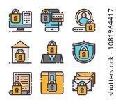 9 vector flat lock icons set....
