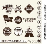 Vector Set: Boy Scouts Merit Badge Labels